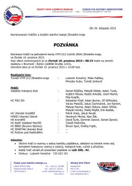 Pozvánka - jednodenní kemp U12 - Krajský svaz ledního hokeje Zlin