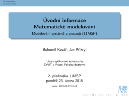 Modelovani systemu a procesu - 1. prednaska