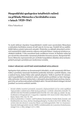 Hospodářská spolupráce totalitních režimů na příkladu Německa a