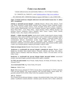 Zápis z Ústřední konference delegátů odbornosti chovatelů holubů