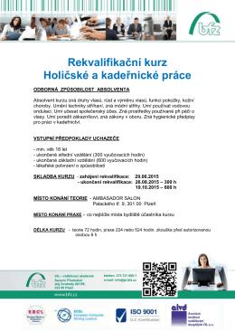 Rekvalifikační kurz Holičské a kadeřnické práce
