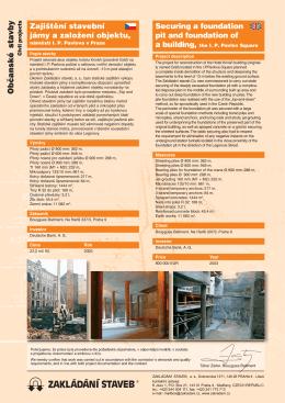 Zajištění stavební jámy a založení objektu, náměstí I. P. Pavlova v
