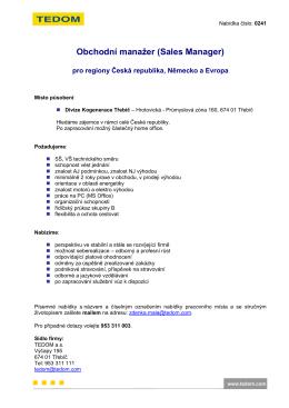 Obchodní manažer pro ČR a Evropu