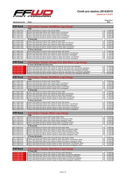 Ceník pro sezónu 2014/2015