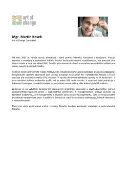 Mgr. Martin Kosek