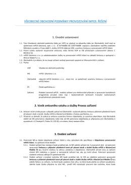 Všeobecné obchodní podmínky Provozování mPos