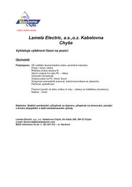 Obchodník - LAMELA ELECTRIC, a.s.