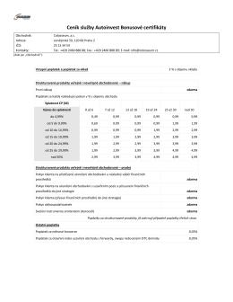 Ceník služby Autoinvest Bonusové certifikáty