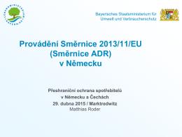 Provádění Směrnice 2013/11/EU (Směrnice ADR