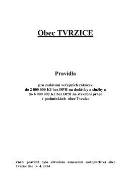 Pravidla pro zadávání veřejných zakázek do 2 000