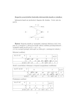 Příklad na kapacitu binárního kanálu se zámlkou z přednášky 13.1.16