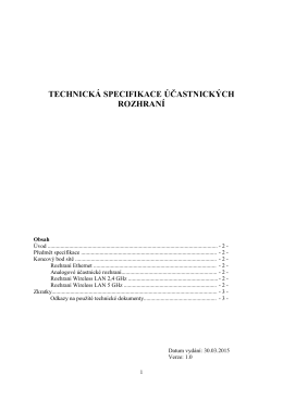 Technická specifikace účastnických rozhraní pro připojení k internetu