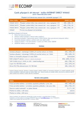 CENÍK - Internetové připojení WiMAX 3.5GHz