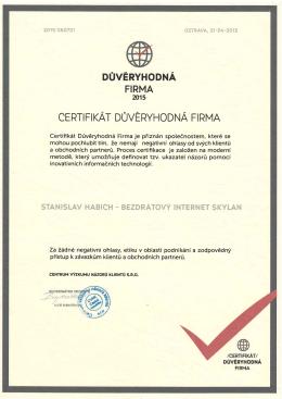 certifikát důvěryhodná firma 2015