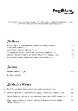 Polévka Sendviče a Wrapy Predkrmy