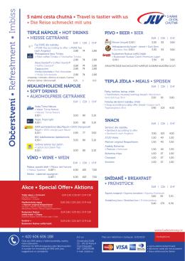 Nabídka občerstvení v lůžkových vozech se servisem JLV, a.s. ve