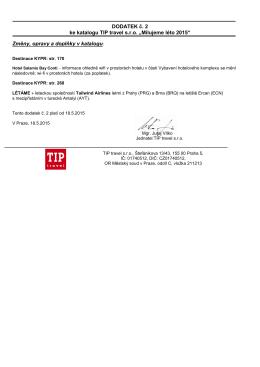 """DODATEK č. 2 ke katalogu TIP travel s.r.o. """"Milujeme léto 2015"""