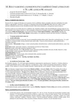 10. boj o národní a kosmopolitní zaměření české literatury v 70. a 80