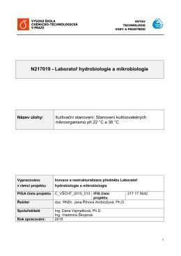 N217019 - Laboratoř hydrobiologie a mikrobiologie