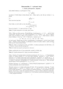 Matematika 1 - vybrané cásti