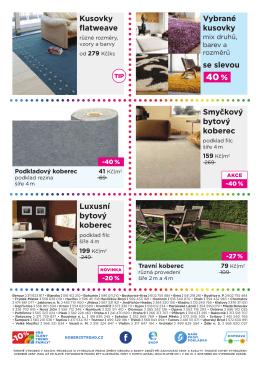 Luxusní bytový koberec Smyčkový bytový koberec Kusovky