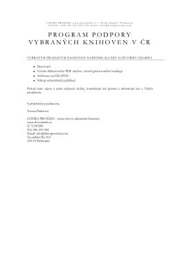 PROGRAM PODPORY VYBRANÝCH KNIHOVEN V ČR