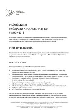 Plán činnosti Hvězdárny a planetária Brno na rok 2015