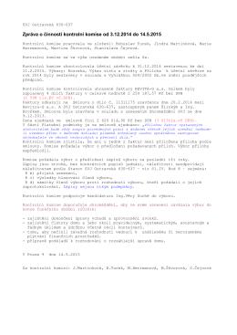 Zpráva o činnosti kontrolní komise od 3.12.2014 do 14.5.2015