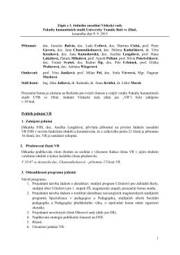 Zápis z 1. řádného zasedání ze dne 9. 9. 2015