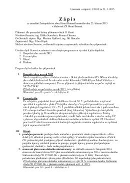 Zápis a usnesení ZO