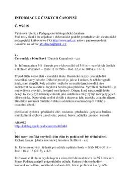 INFORMACE Z ČESKÝCH ČASOPISŮ Č. 9/2015