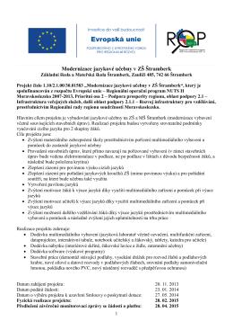 Modernizace jazykové učebny v ZŠ Štramberk – realizace