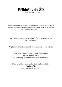 Přihlášky do ŠD školní rok 2015/2016