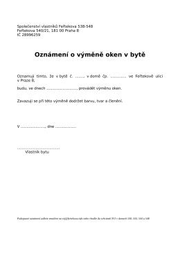 Oznámení o výměně oken v bytě - Společenství vlastníků Feřtekova