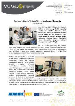 Centrum AdmireVet rozšíří své výzkumné kapacity