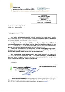 Dopis premiérovi Bohuslavu Sobotkovi