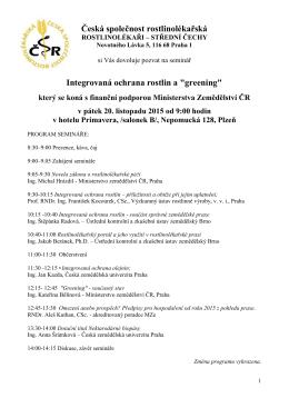 v pozvánce - Česká společnost rostlinolékařská