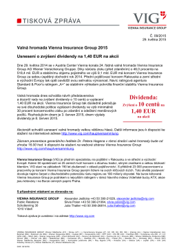 Dividenda: 1,40 EUR - Vienna Insurance Group