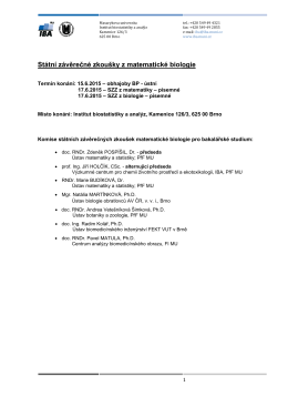 Harmonogram a podrobné informace pro SZZ a obhajoby