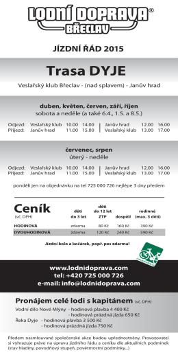 Trasa DYJE - Lodní doprava Břeclav