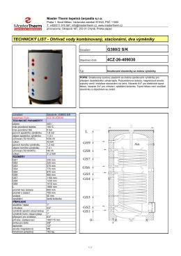 TECHNICKÝ LIST - Ohřívač vody kombinovaný, stacionární, dva