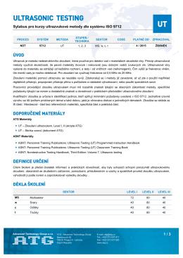 Sylabus kurzu UT podle kvalifikačního systému ISO 9712