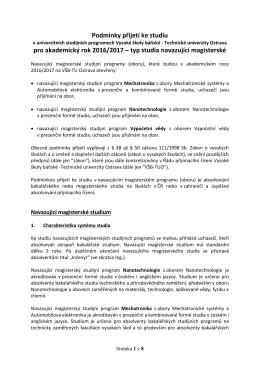 Podmínky přijímacího řízení pro navazující magisterské studium