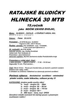 HLINECKÁ 30 MTB - Svaz cyklistiky Pardubického kraje