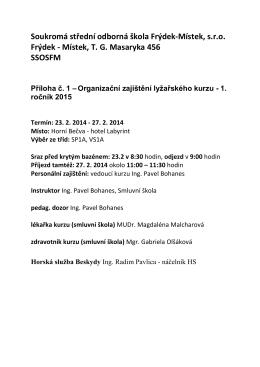 Místek, TG Masaryka 456 SSOSFM