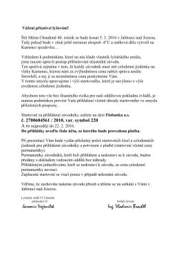 Průvodní dopis k propozicím