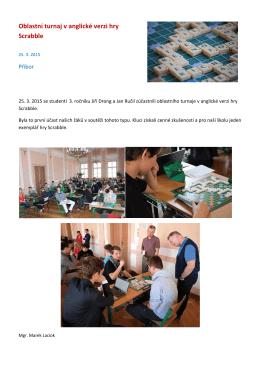 Oblastní turnaj v anglické verzi hry Scrabble