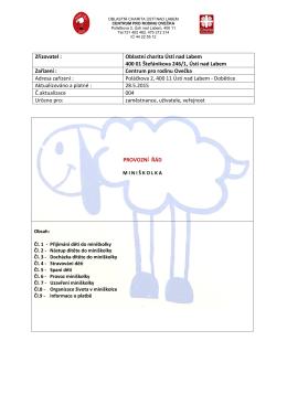 Provozní řád miniškolky 2015