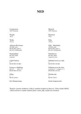 Composition Materiál Weight Hmotnost Width Šířka Abrasion