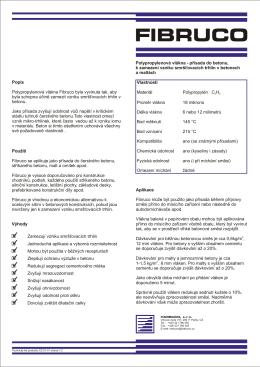 Vlastnosti Materiál Polypropylén CH Průměr vlákna 18